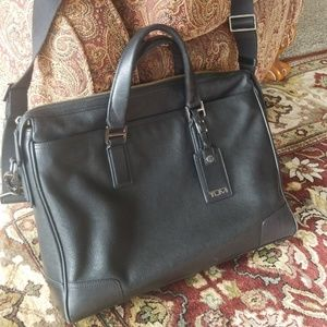 Tumi black leather laptop/briefcase